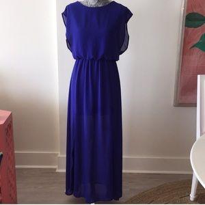 Lush Royal Blue Chiffon Maxi Dress